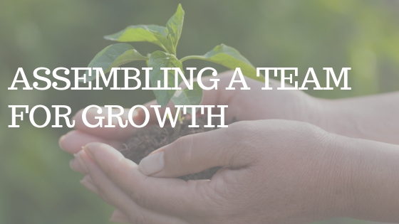 """TWO HANDS holding a green plant with the white text """"assembling a team for growth"""""""