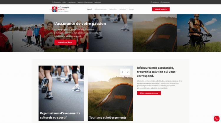 Site Internet de La Compagnie du Sport, assurance basée à Gap, conçu par l'agence Stratégie LG