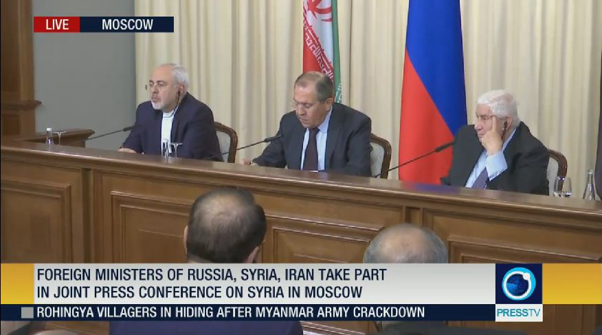 Lavrov, Zarif and Muallem Give Joint Press Conference After Meeting in Moscow 22
