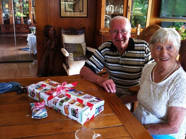 December 25 2012, Mavis on her 91st birthday with partner Norris.