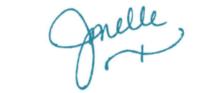 Jonelle signature blue ink