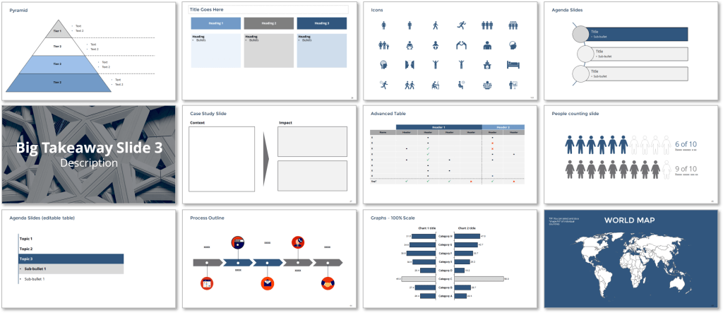 Strategy Consulting Templates, Slides & Graphs Pack