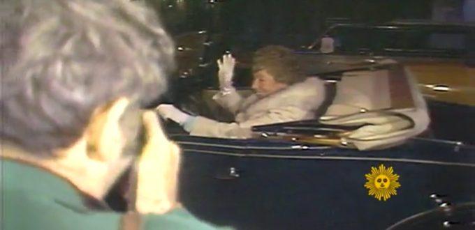Harriet Stratemeyer Adams arrives in the back of a blue roadster.