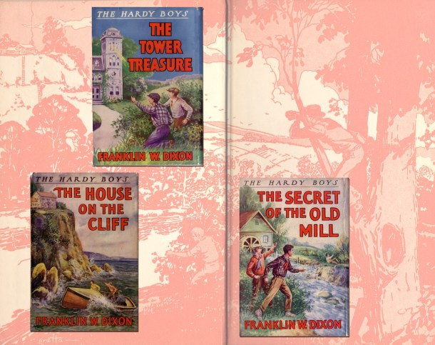 The first three titles in the Hardy Boys series (1930s printings).