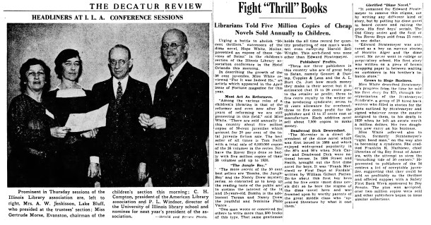 An article from Nov. 1934 that appeared in many newspapers warning about series books.