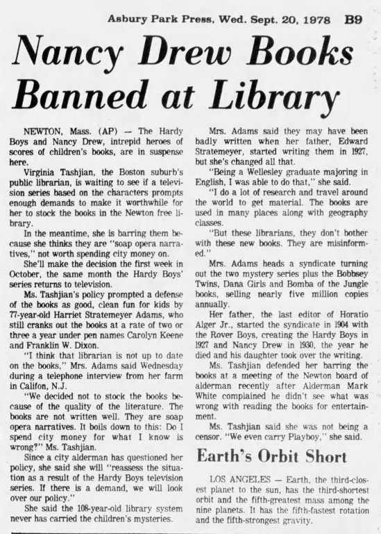 1978 banning of Nancy Drew from libraries