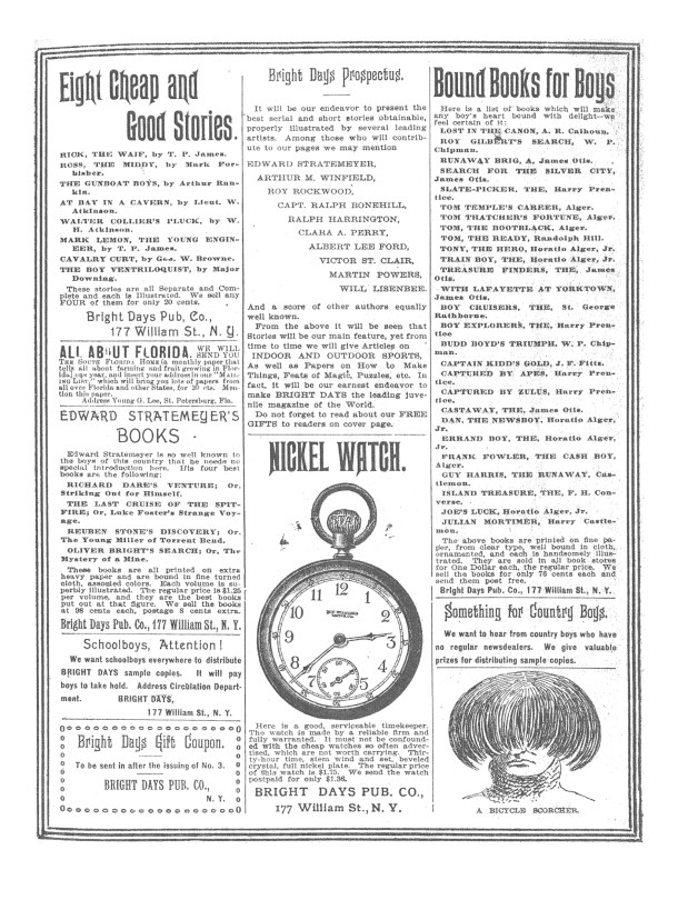 Page 31 with ads from issue 3 of Bright Days, 1896.