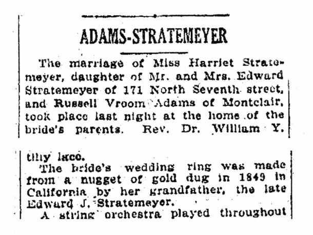 Harriet Stratemeyer marriage