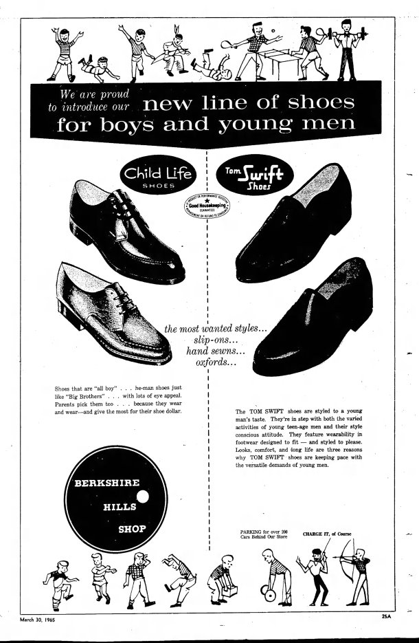 Ad for Tom Swift Shoes, March 30, 1965.