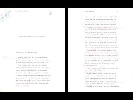 Trixie Belden manuscript pages
