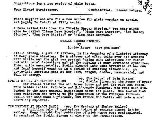 Stella  Strong proposal before Nancy Drew name