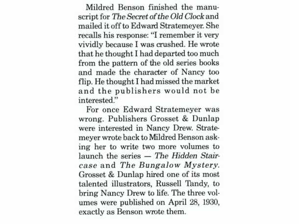 Mildred Wirt on Nancy Drew disappointment about too flip