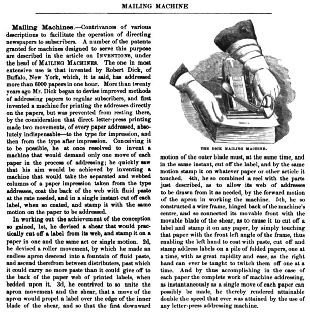 1871 printing encyclopedia entry about the Dick Mailing Machine.