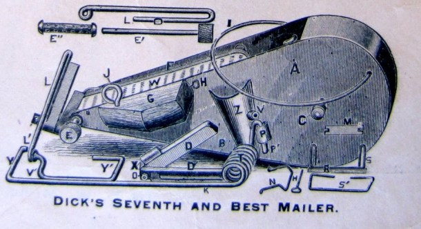 1887 illustration of the Dick Mailing Machine.