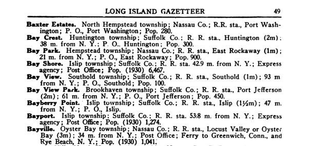 Bayport, New York in a 1939 Long Island Gazeteer.