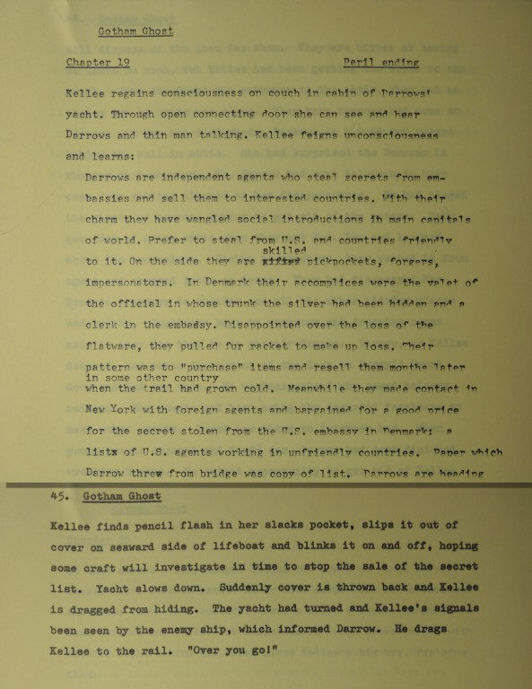 1965 outline indicating a peril chapter ending.