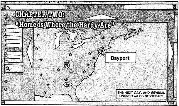 Vague map of the U.S. showing the location of Bayport from the PaperCutz comic books, 2006.