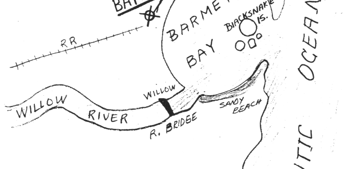 Undated Stratemeyer Syndicate document with a sketch illustration of Barmet Bay and Bayport.