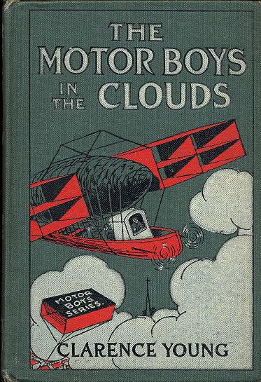 Cover of The Motor Boys in the Clouds with an airship with large box-kite wings.