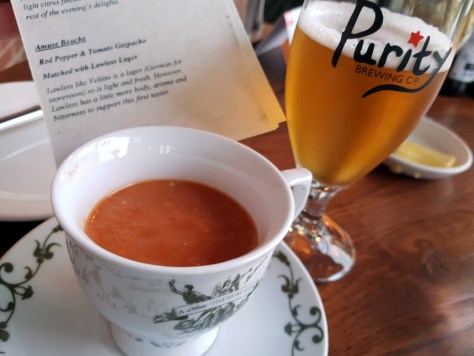 Red pepper and tomato gazpacho, matched with Lawless lager ©Stratfordblog.com
