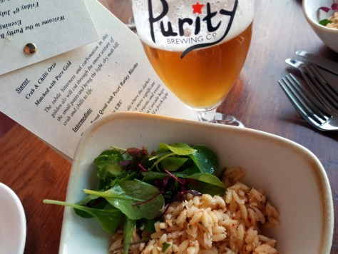 Crab and chilli orzo, served with Purity's Pure Gold ©Stratfordblog.com