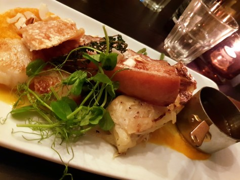 Roasted pork belly and seared scallops - part of the new dinner menu at The Encore in Stratford-upon-Avon ©Stratfordblog.com