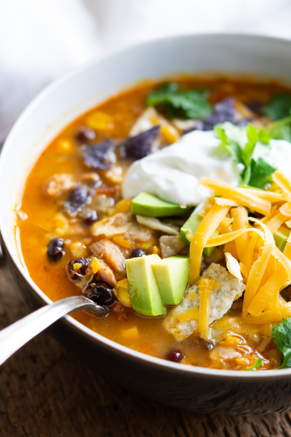 Bowl of Chicken & Sweet Potato Tortilla Soup
