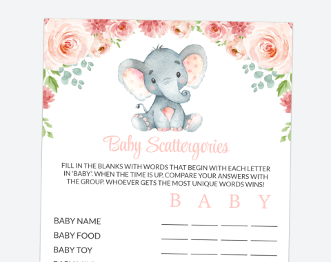Little Elephant Baby Scattergories, Baby Shower Game, Girl Baby Shower, Printable File, SH07