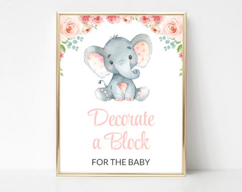 Little Elephant Block Decorating Station, Baby Shower Game, Girl Baby Shower, Printable File, SH07