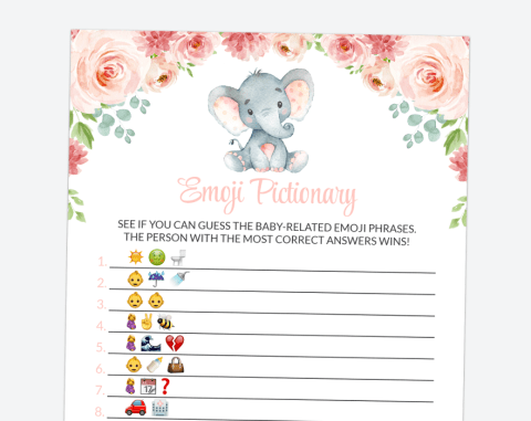 Little Elephant Emoji Pictionary, Baby Shower Game, Girl Baby Shower, Printable File, SH07