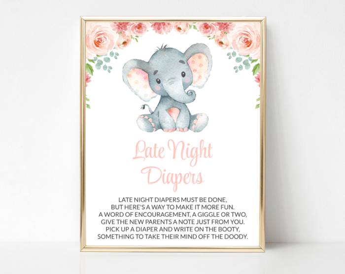 Little Elephant Late Night Diapers, Baby Shower Game, Girl Baby Shower, Printable File, SH07