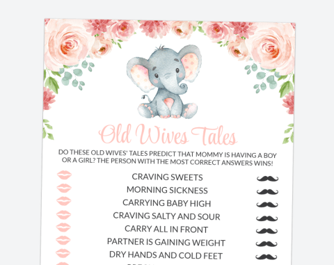 Little Elephant Old Wives Tales, Baby Shower Game, Girl Baby Shower, Printable File, SH07