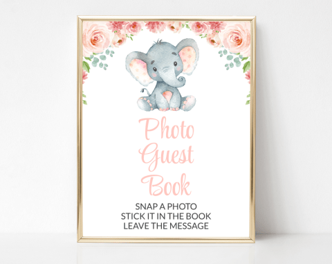Little Elephant Photo Guest Book Sign, Baby Shower Signage, Girl Baby Shower, Printable File, SH07