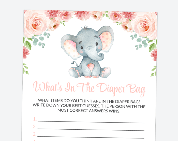 Little Elephant What's In The Diaper Bag, Baby Shower Game, Girl Baby Shower, Printable File, SH07