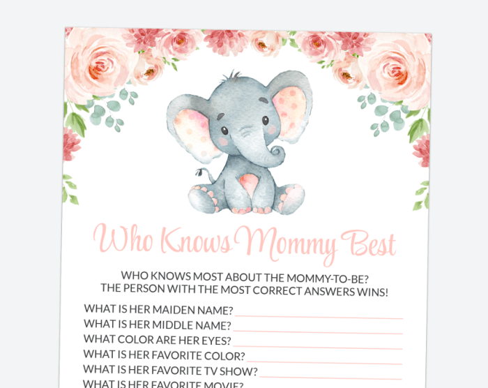 Little Elephant Who Knows Mommy Best, Baby Shower Game, Girl Baby Shower, Printable File, SH07