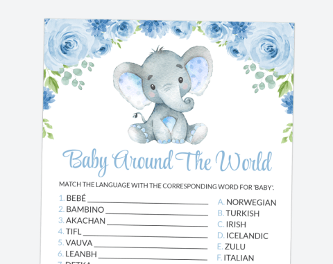 Baby Elephant Baby Around The World, Baby Shower Game, Boy Baby Shower, Printable File, SH08