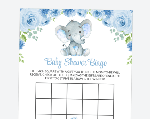 Baby Elephant Baby Bingo, Baby Shower Game, Boy Baby Shower, Printable File, SH08