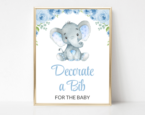 Baby Elephant Bib Decorating Station, Baby Shower Game, Boy Baby Shower, Printable File, SH08