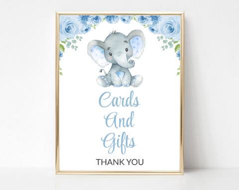 Baby Elephant Cards And Gifts Sign, Baby Shower Signage, Boy Baby Shower, Printable File, SH08