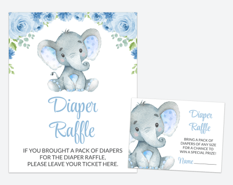 Baby Elephant Diaper Raffle, Baby Shower Game, Boy Baby Shower, Printable File, SH08