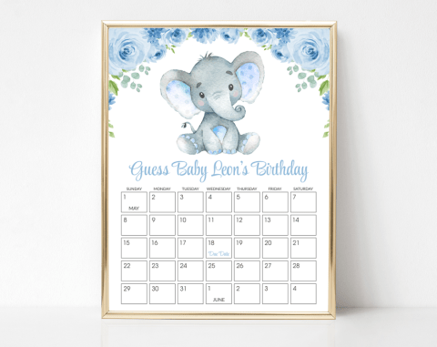 Baby Elephant Guess The Due Date, Baby Shower Game, Boy Baby Shower, Printable File, SH08