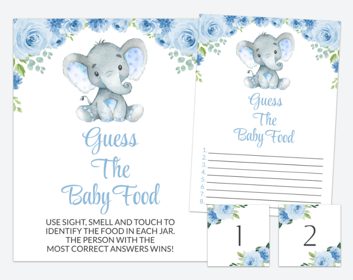 Baby Elephant Guess The Baby Food, Baby Shower Game, Boy Baby Shower, Printable File, SH08