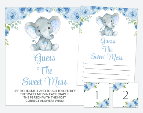 Baby Elephant Guess The Sweet Mess, Baby Shower Game, Boy Baby Shower, Printable File, SH08
