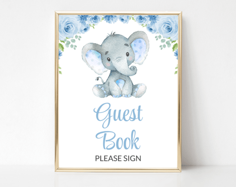 Baby Elephant Guest Book Sign, Baby Shower Signage, Boy Baby Shower, Printable File, SH08