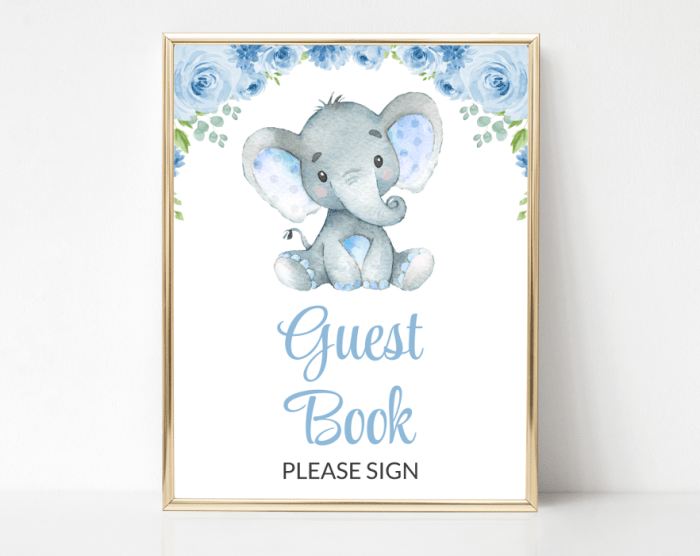 Baby Elephant Guest Book Sign, Birthday, Boy Baby Shower, Printable File, SH08 SH44