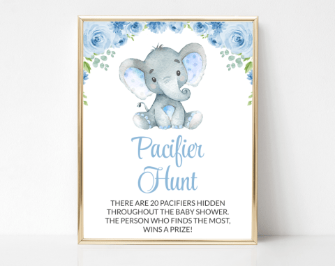 Baby Elephant Pacifier Hunt, Baby Shower Game, Boy Baby Shower, Printable File, SH08
