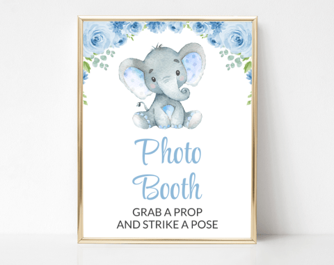 Baby Elephant Photo Booth Sign, Baby Shower Signage, Boy Baby Shower, Printable File, SH08