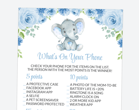 Baby Elephant What's On Your Phone, Baby Shower Game, Boy Baby Shower, Printable File, SH08
