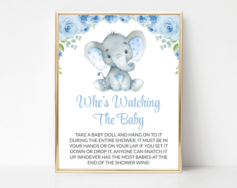 Baby Elephant Who's Watching The Baby, Baby Shower Game, Boy Baby Shower, Printable File, SH08
