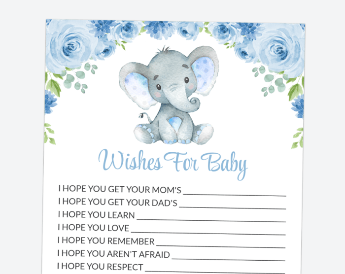 Baby Elephant Wishes For Baby, Baby Shower Game, Boy Baby Shower, Printable File, SH08